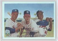 Eddie Mathews, Warren Spahn, Hank Aaron #/1,957