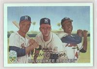 Eddie Mathews, Warren Spahn, Hank Aaron /1957