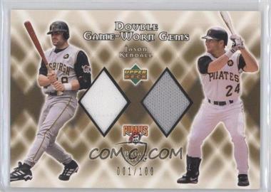2002 Upper Deck - Double Game-Worn Gems - Gold #DG-KG - Jason Kendall, Brian Giles /100