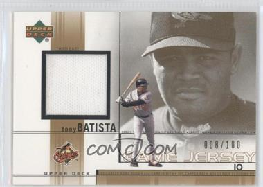 2002 Upper Deck - Game-Used Jerseys - Gold #TB - Tony Batista /100