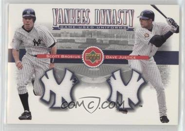 2002 Upper Deck - Yankees Dynasty Game-Used Materials Combos #YJ-BJ - Scott Brosius, David Justice