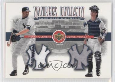 2002 Upper Deck - Yankees Dynasty Game-Used Materials Combos #YJ-CP - Roger Clemens, Jorge Posada