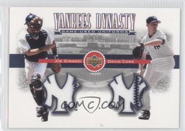 2002 Upper Deck - Yankees Dynasty Game-Used Materials Combos #YJ-GC - David Cone, Joe Girardi