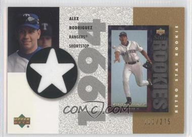 2002 Upper Deck Authentics - Retro UD Star Rookies Jerseys - Gold #SR-AR - Alex Rodriguez /275