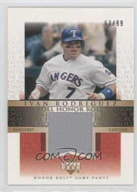 2002 Upper Deck Honor Roll - Game Jersey - Gold #JIR4 - Ivan Rodriguez /99