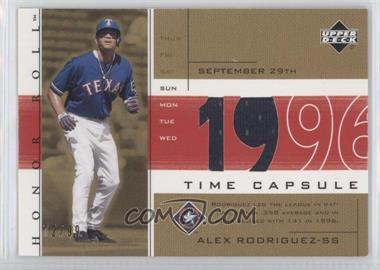 2002 Upper Deck Honor Roll - Time Capsule Game Jersey - Gold #TC-AR1 - Alex Rodriguez /99