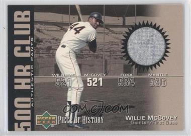 2002 Upper Deck Piece Of History - 500 HR Club - Memorabilia [Memorabilia] #HR-WM - Willie McCovey