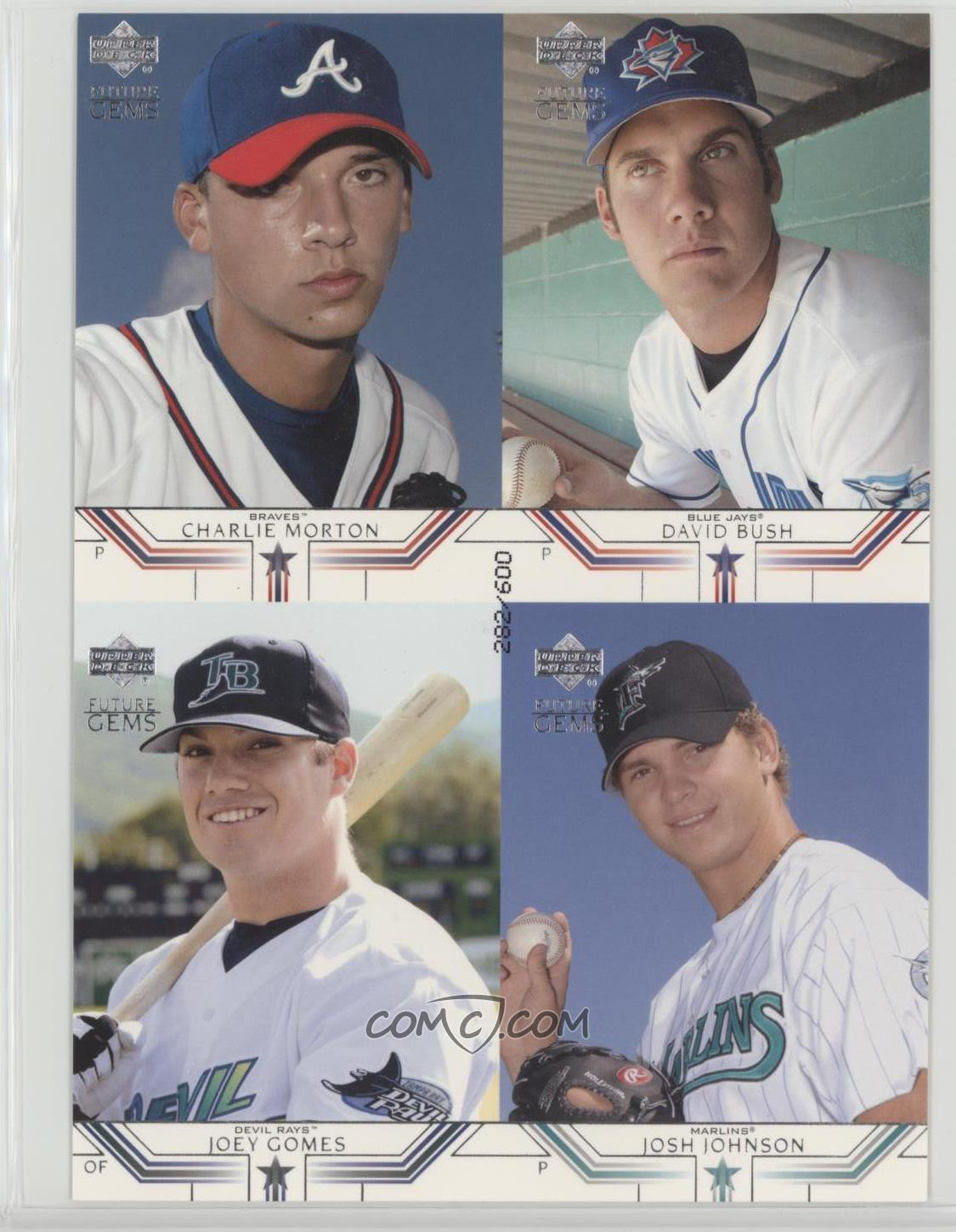 2002 upper deck prospect premieres box toppers quads mbgj charlie morton david bush joey gomes josh johnson 600 charlie morton david bush joey gomes
