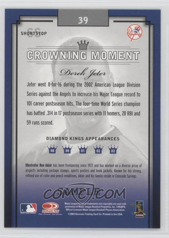 2003 Donruss Diamond Kings - [Base] - Sample Silver #39 - Derek Jeter