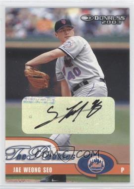 2003 Donruss The Rookies - [Base] - Autographs [Autographed] #45 - Jae Seo /50