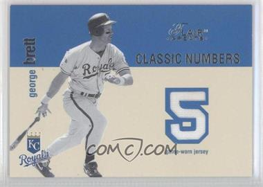 2003 Flair Greats - Classic Numbers Dual Memorabilia #NoN - Nolan Ryan, George Brett /250