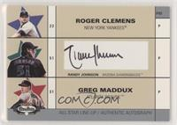 Roger Clemens, Randy Johnson, Greg Maddux (Randy Johnson Autograph) #/270