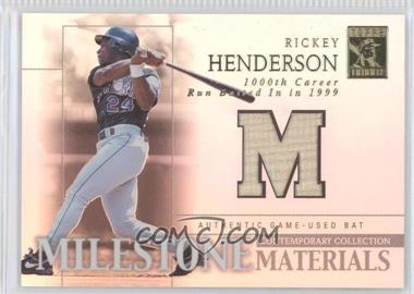 2003 Topps Tribute - Contemporary Edition - Milestone Materials #MIM-RH1 - Rickey Henderson
