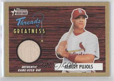 2004 Bowman Heritage - Threads of Greatness - Gold #TG-AP2 - Albert Pujols /55