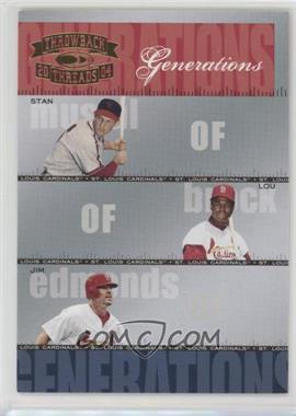 2004 Donruss Throwback Threads - Generations #G-13 - Lou Brock, Jim Edmonds, Stan Musial /1500