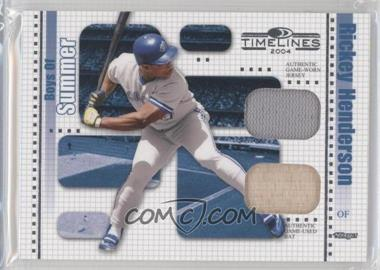 2004 Donruss Timelines - Boys of Summer - Combo Materials [Memorabilia] #21 - Rickey Henderson /100