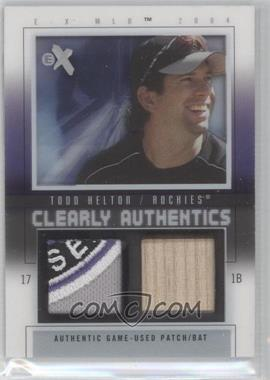 2004 EX - Clearly Authentics - Pewter Bat/Patch #CA-TH - Todd Helton /44
