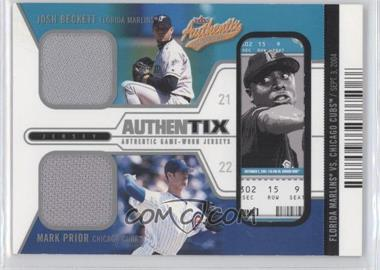 2004 Fleer Authentix - Game Jerseys Dual - Unripped #JB-MP - Josh Beckett, Mark Prior /50