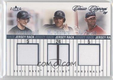 2004 Fleer Classic Clippings - Jersey Rack Triple #JR-B/C/P - Albert Pujols, Rocco Baldelli, Miguel Cabrera /225