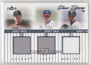 2004 Fleer Classic Clippings - Jersey Rack Triple #JR-C/P/B - Mark Prior, Roger Clemens, Josh Beckett /225