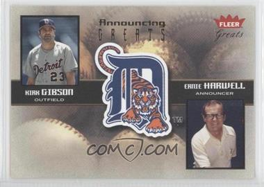 2004 Fleer Greats of the Game - Announcing Greats #5 AG - Kirk Gibson, Ernie Harwell