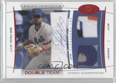 2004 Fleer Hot Prospects Draft Edition - Double Team Jerseys - Red Hot Patches Signatures [Autographed] #DTAP/N/A - Mike Piazza /22