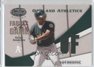 2004 Leaf Certified Materials - Fabric of the Game - Postion #FG-189 - Rickey Henderson /100