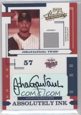 2004 Playoff Absolute Memorabilia - Absolutely Ink - Materials [Memorabilia] #AI-71 - Johan Santana /100