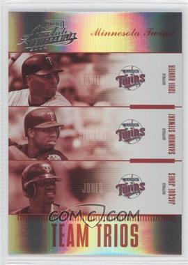 2004 Playoff Absolute Memorabilia - Team Trios - Spectrum #TTR-5 - Torii Hunter, Shannon Stewart, Jacque Jones /25