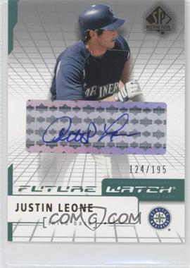 2004 SP Authentic - [Base] - Future Watch Silver Autographs [Autographed] #118 - Justin Leone /195