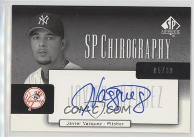 2004 SP Authentic - SP Chirography - Silver Black & White #CA-JV - Javier Vazquez /30