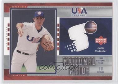 2004 Upper Deck - National Pride - Series 1 Jerseys [Memorabilia] #USA5 - Justin Verlander