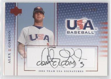 2004 Upper Deck USA Baseball - Team USA Signatures - Black Ink #S-21 - Alex Gordon /595