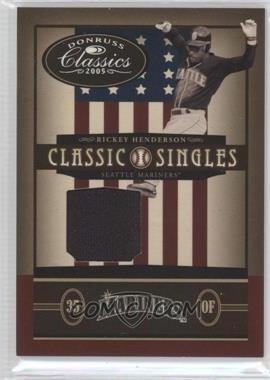 2005 Donruss Classics - Classic Singles - Jerseys [Memorabilia] #CS-13 - Rickey Henderson /100