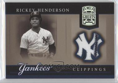 2005 Donruss Greats - Yankee Clippings Materials #YC-22 - Rickey Henderson