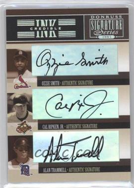 2005 Donruss Signature Series - INKcredible Signatures Trios #IS-50 - Ozzie Smith, Alan Trammell, Cal Ripken Jr.