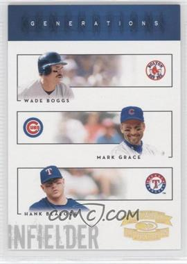 2005 Donruss Throwback Threads - Generations - Gold Century Proof #G-8 - Hank Blalock, Mark Grace, Wade Boggs /100