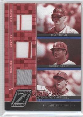 2005 Donruss Zenith - Mozaics - Triple Jerseys [Memorabilia] #M-9 - Jim Thome, Bobby Abreu, Pat Burrell /100