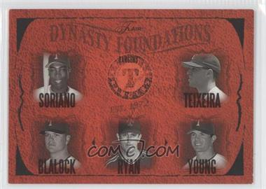 2005 Flair - Dynasty Foundations #28DF - Alfonso Soriano, Mark Teixeira, Hank Blalock, Nolan Ryan, Michael Young /500
