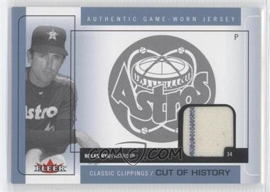 2005 Fleer Classic Clippings - Cuts of History Single - Blue Materials [Memorabilia] #CH-NR - Nolan Ryan
