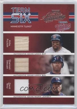 2005 Playoff Absolute Memorabilia - Team Six - Materials [Memorabilia] #TS-43 - Kirby Puckett, Shannon Stewart, David Ortiz, Doug Mientkiewicz, Torii Hunter, Michael Cuddyer /150