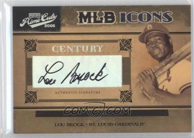 2005 Playoff Prime Cuts - MLB Icons - Century Silver Autographs [Autographed] #MLB-27 - Lou Brock /25