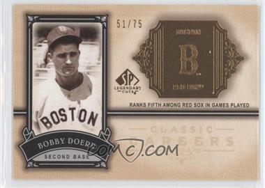 2005 SP Legendary Cuts - Classic Careers - Gold #CC-BD - Bobby Doerr /75