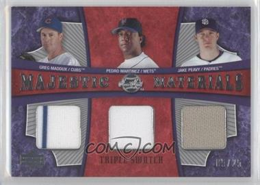 2005 Upper Deck Sweet Spot - Majestic Materials Triple - Swatch #MMT-MMP - Pedro Martinez, Greg Maddux, Jake Peavy /25