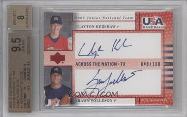 2005 Upper Deck USA Baseball - Junior National Team Across the Nation Dual Autographs - Blue Ink #GP1 - Clayton Kershaw, Shawn Tolleson /100 [BGS9.5GEMMINT]