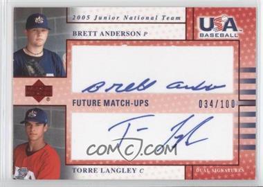 2005 Upper Deck USA Baseball - Junior National Team Future Match-Ups Dual Autographs - Blue Ink #JFM1 - Brett Anderson, Torre Langley /100