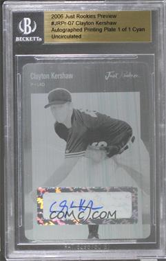 2006 Just Minors - Just Rookies Preview 2006 - Printing Plate Cyan Autographs [Autographed] #JRPR-07 - Clayton Kershaw /1 [Uncirculated]