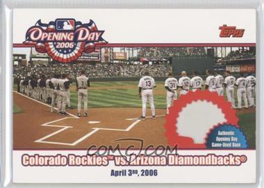 2006 Topps Opening Day - 2006 - Relics [Memorabilia] #ODR-RD - Colorado Rockies vs. Arizona Diamondbacks