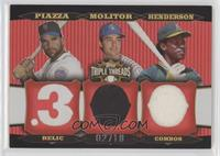 Mike Piazza, Paul Molitor, Rickey Henderson #/18