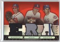 Tom Seaver, Nolan Ryan, Greg Maddux /36
